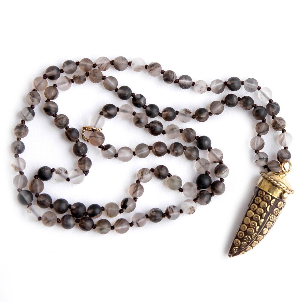 Hand tied matte grey owl agate gemstone necklace with Ornate Protective Horn