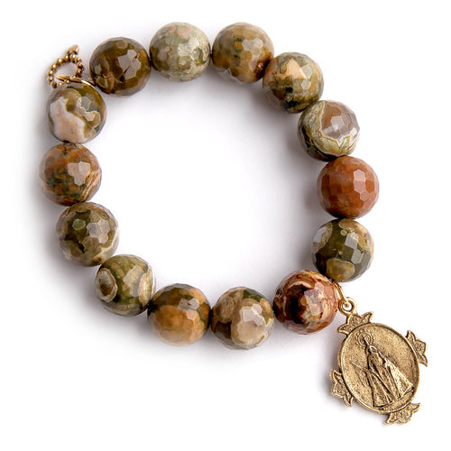 California camouflage agate paired with an exclusively cast bronze Queen of Heaven medal