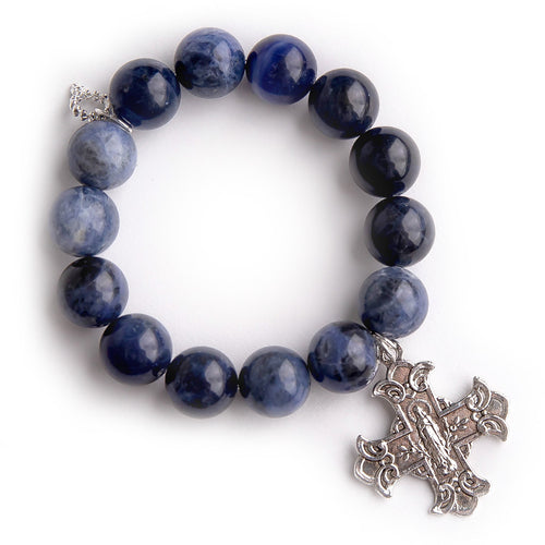 Dumortierite paired with an exclusively cast silver Sacred Heart cross