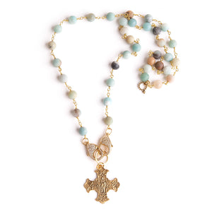 Amazonite rosary chain convertible face mask necklace featuring an exclusively casted bronze Sacred Heart cross pendant