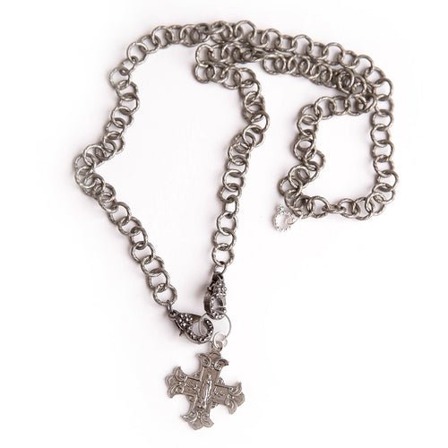 Gunmetal Chain Convertible Face Mask Necklace with Lobster Clasp and Sacred Heart of Mary Cross