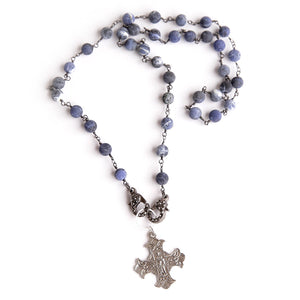 Matte dumortierite convertible face mask necklace featuring an exclusively casted silver Sacred Heart cross pendant
