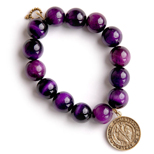 Faceted purple striped agate paired with a bronze Saint Christopher medal