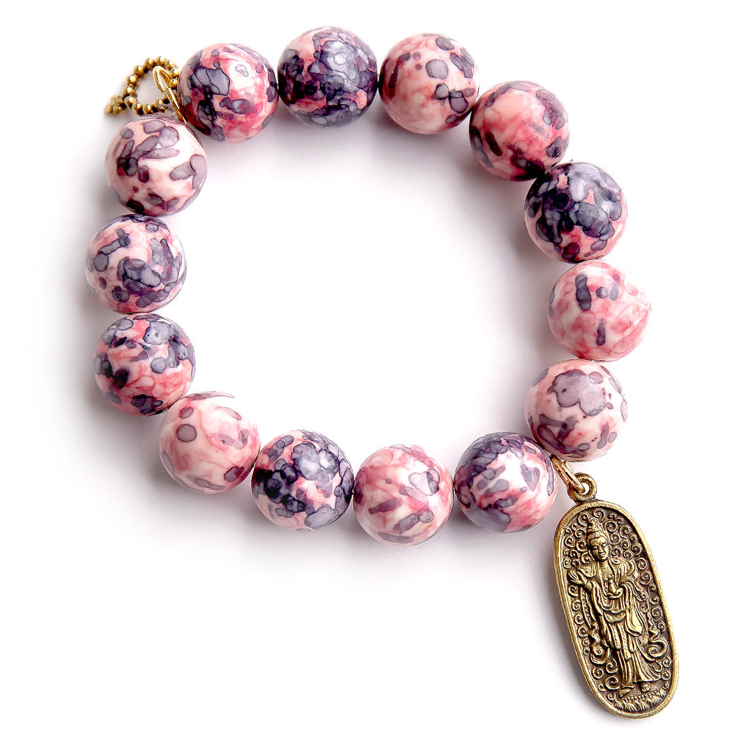 Pink and Blue watercolor agate paired with a gold long Buddha
