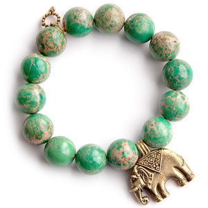 Green sediment jasper paired with a bronze elephant