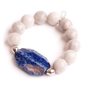 Marshmallow agate paired with oval marine agate slice and Ethiopian silver accents
