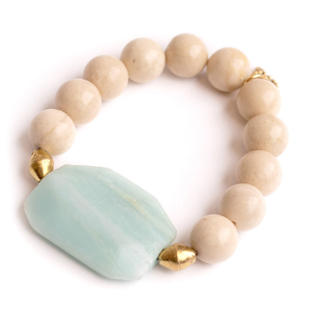 Cream coral with octagon sea foam agate slice and Ethiopian brass accents