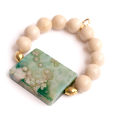Cream coral with rectangle moss agate slice with Ethiopian brass accents