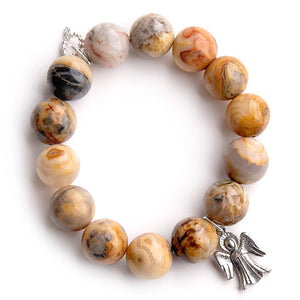 Desert Sand agate paired with a silver angel