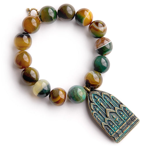 Chartreuse agate paired with a Zen Prayer medal