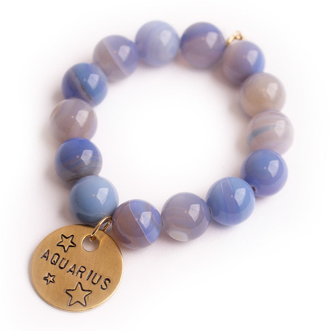 Cornflower agate paired with a bronze hand stamped Aquarius medal