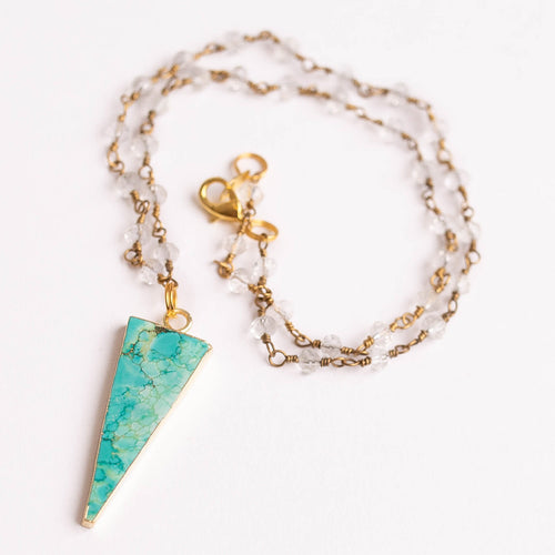 Faceted crystal quartz rosary chain necklace with aqua green sediment jasper arrow pendant with brass lobster clasp