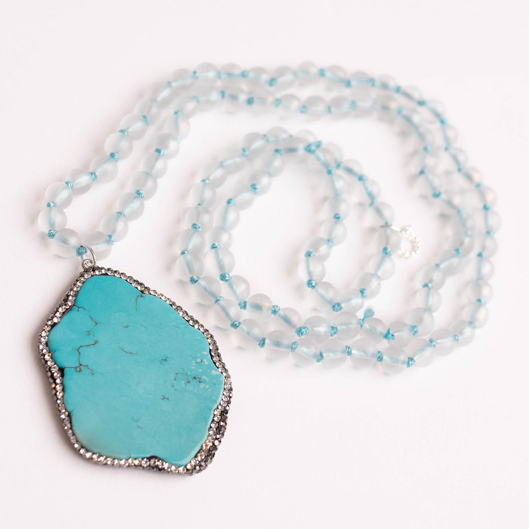 Hand Tied Frosted Quartz Necklace paired with a Blue Howlite Pave Surround Pendant