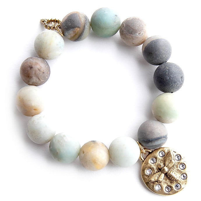 Matte amazonite paired with crystal surround queen bee