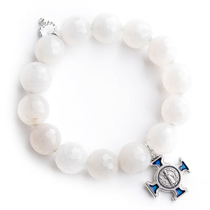 Faceted white jade paired with a blue enameled Saint Benedict cross