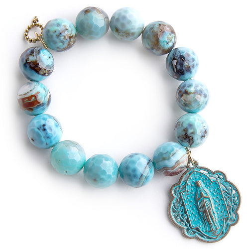 Faceted ocean reef agate paired with a patina Queen of Heaven