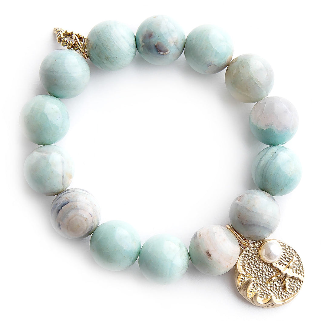 Sea foam agate paired with brushed bronze jewel of the sea