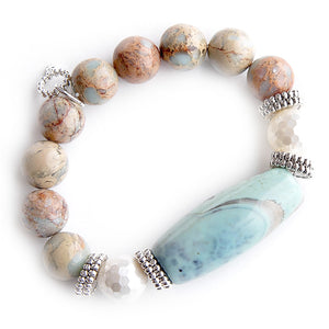 Sea foam agate barrel with mother of pearl accents on 12mm aqua terra jasper