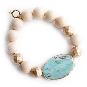 Aqua Jasper Statement Slice with Matte Gold Accents and Cream Coral