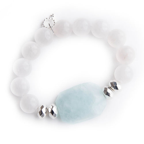 Ocean Blue Agate Statement Slice with Silver Hematite Accents and White Jade