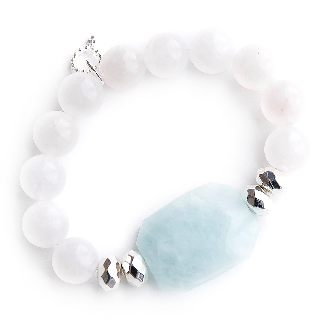 Aquamarine statement with silver accents on white jade
