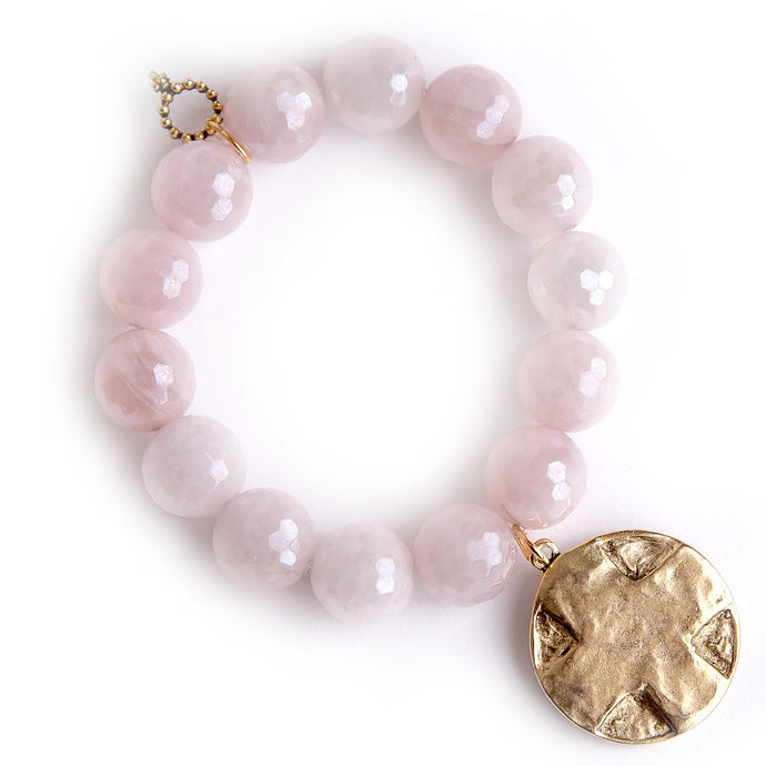 Faceted Iridescent Rose Quartz paired with a brushed bronze Lord's Prayer medal