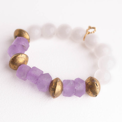 Lilac sea glass paired with white jade and Ethiopian brass accents