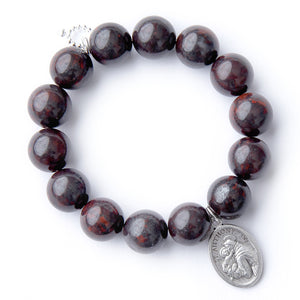 Oxblood jasper with silver oval Saint Anthony medal