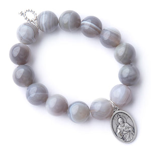 Grey swirl agate with a silver oval Saint Jude medal