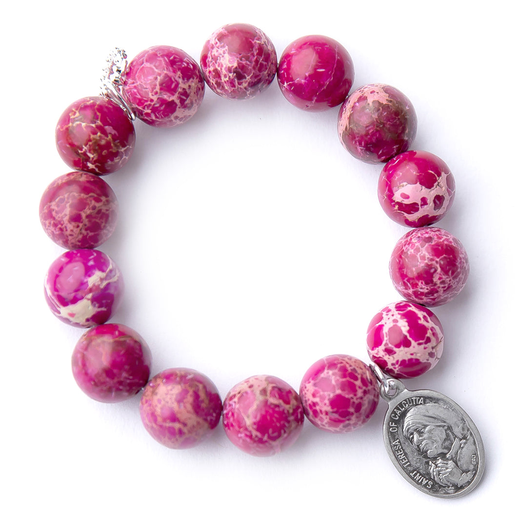 Magenta sediment jasper with silver oval Saint Mother Theresa of Calcutta medal