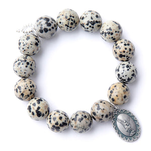 Dalmatian jasper with silver oval Saint Michael medal