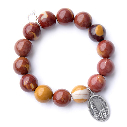 Mookaite with silver oval Lady of Fatima medal
