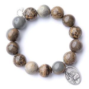 Willow jasper with silver oval Saint Rita medal