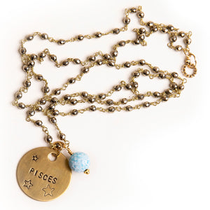 Gold hematite rosary chain necklace with aquamarine agate accent and hand stamped bronze Pisces medal