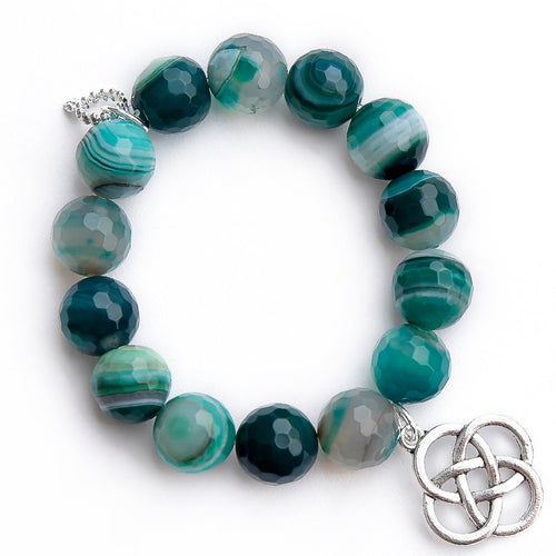 Faceted Teal striped agate paired with a silver Celtic knot