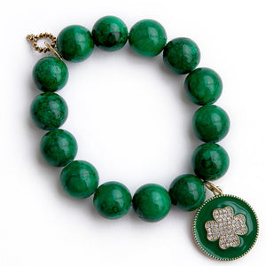Kelly Green agate paired with a green enameled shamrock