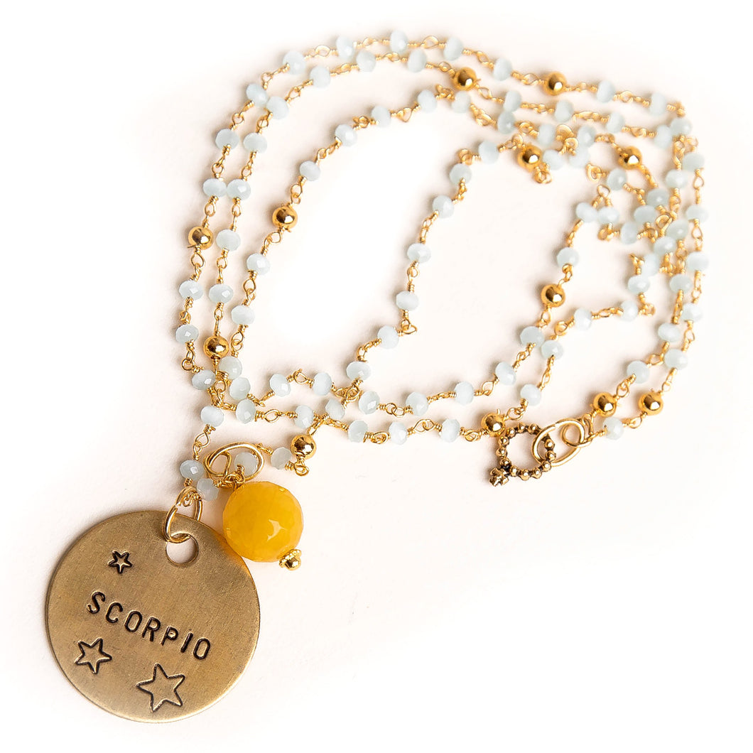 Aqua quartz rosary chain necklace with goldenrod agate accent and hand stamped bronze Scorpio medal