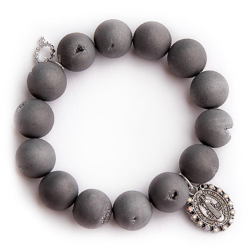 Matte grey druzy agate with sparkle St. Benedict