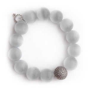 White calcite with silver micropave