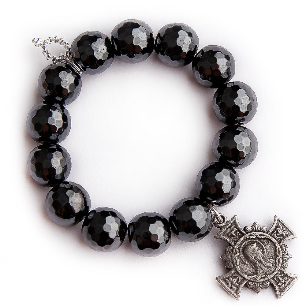 Faceted gunmetal hematite with silver Blessed Mother cross
