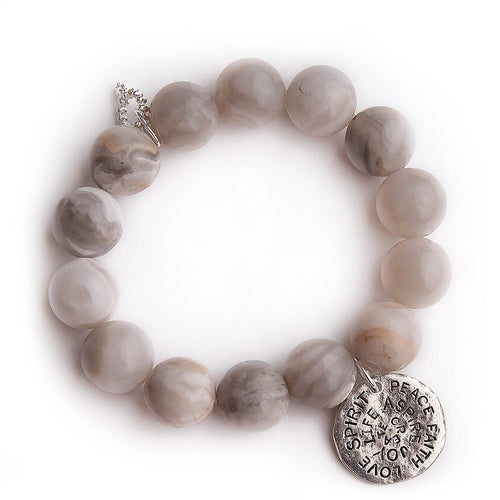 Marshmallow agate with silver hammered spirit medal