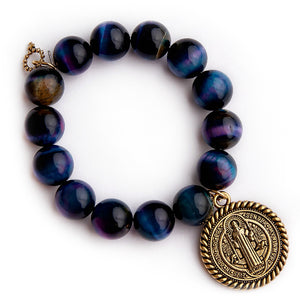 Northern lights tiger eye with gold braided St. Benedict