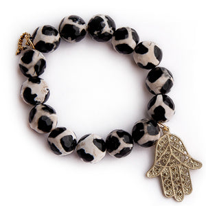 Faceted black gingham agate with brushed gold Hamsa