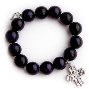 Purple tiger eye with silver cross