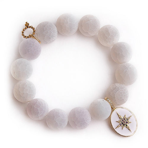 Matte white lace agate with enameled wish upon a star
