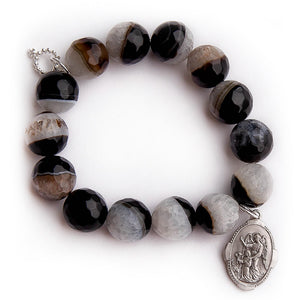 Faceted crescent agate with silver Guardian Angel