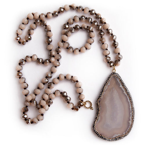 Faceted mushroom agate hand tied necklace with gold pave surround agate slice