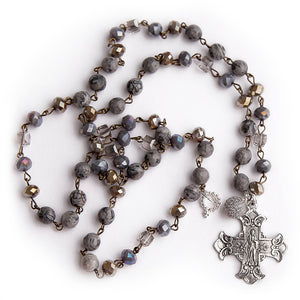 Faceted silver agate rosary chain necklace with silver Sacred Heart cross and pave droplet