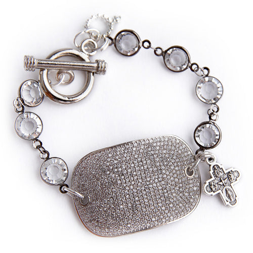 Faceted quartz crystal rosary chain with a silver pave cuff and small silver cross
