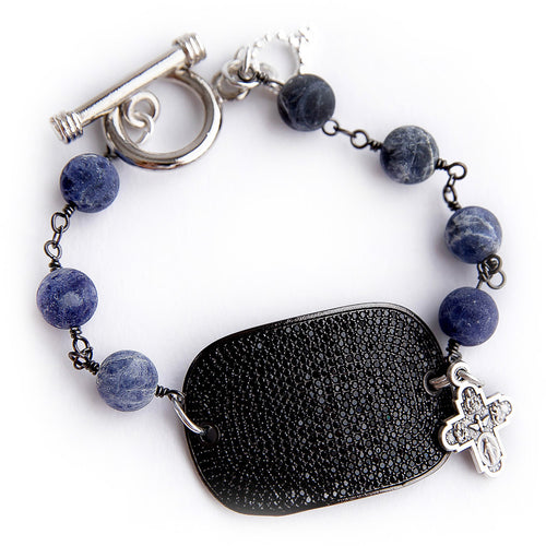 Matte dumortierite rosary chain with a black pave cuff and small silver cross
